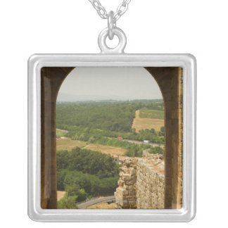 Landscape viewed through an archway, Porta Square Pendant Necklace