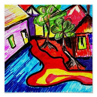 landscape village art-deco poster