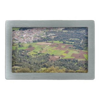 Landscape village with houses in valley of Greece Rectangular Belt Buckle