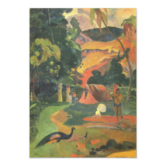 "Landscape w Peacocks by Gauguin, Vintage Fine Art 5"" X 7"" Invitation Card"