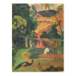 Landscape w Peacocks by Gauguin, Vintage Fine Art Postcard