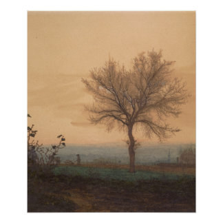 Landscape with a Bare Tree and a Plowman Poster