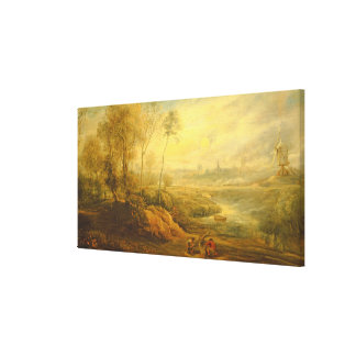Landscape with a Birdcatcher (oil on panel) Canvas Print