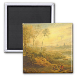 Landscape with a Birdcatcher (oil on panel) Magnet