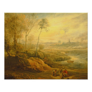 Landscape with a Birdcatcher (oil on panel) Poster