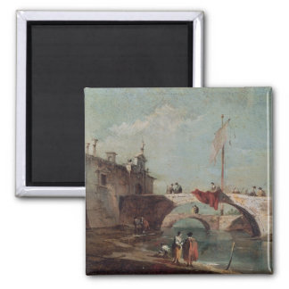 Landscape with a Canal 2 Inch Square Magnet