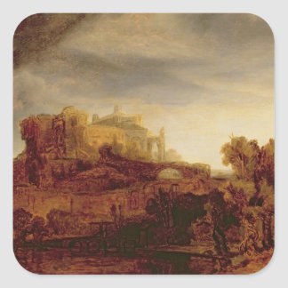 Landscape with a Chateau Square Sticker