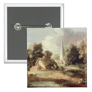 Landscape with a Church, Cottage, Villagers and An 2 Inch Square Button