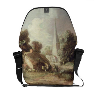 Landscape with a Church, Cottage, Villagers and An Courier Bag