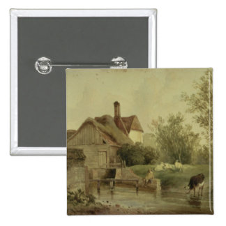 Landscape with a cottage pin