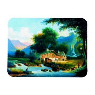 Landscape With a Cottage by a Stream Rectangular Photo Magnet