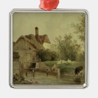 Landscape with a cottage metal ornament