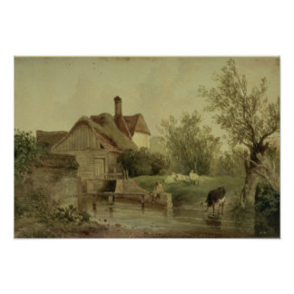 Landscape with a cottage poster