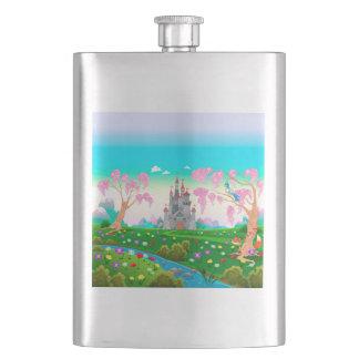 Landscape with a fantasy castle flask