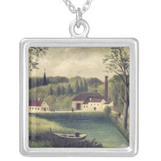 Landscape with a Fisherman, after 1886 Silver Plated Necklace