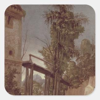 Landscape with a Footbridge, c.1518-20 Square Stickers
