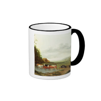 Landscape with a Herdsman and Cattle (oil on canva Ringer Coffee Mug