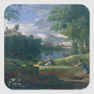 Landscape with a Man killed by a Snake, c.1648 Square Sticker