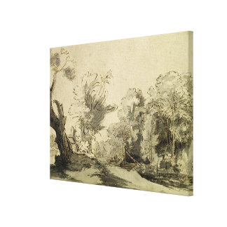 Landscape with a path,almost dead tree on left canvas print