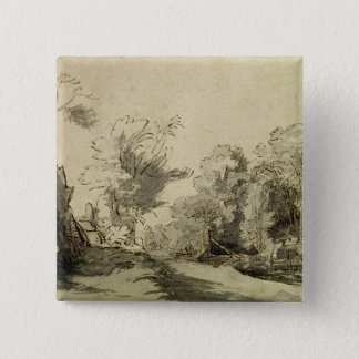 Landscape with a path,almost dead tree on left pinback button