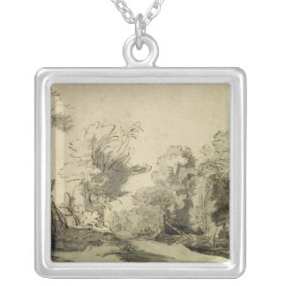 Landscape with a path,almost dead tree on left square pendant necklace