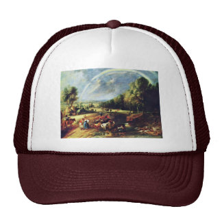 Landscape With A Rainbow By Rubens Peter Paul Trucker Hats