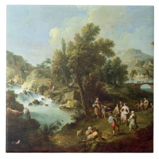 Landscape with a River and Dancing Peasants (oil o Ceramic Tile