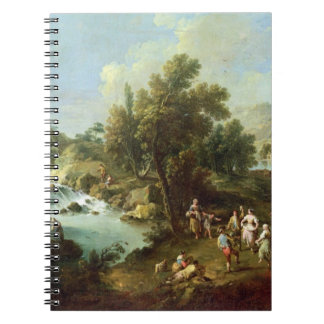 Landscape with a River and Dancing Peasants (oil o Notebook