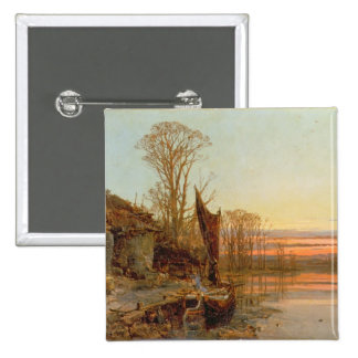 Landscape with a Ruined Cottage at Sunset, 1898 Button