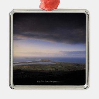 landscape with an overcast sky square metal christmas ornament