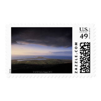 landscape with an overcast sky postage