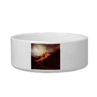 Landscape with baptism by Rembrandt Cat Food Bowl