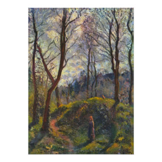 Landscape with big trees by Camille Pissarro Poster