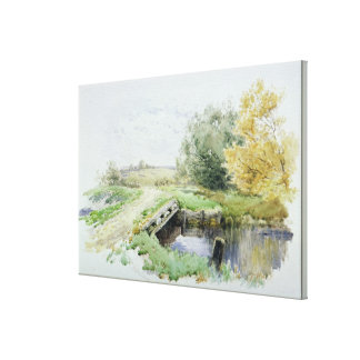 Landscape with bridge over a stream canvas print