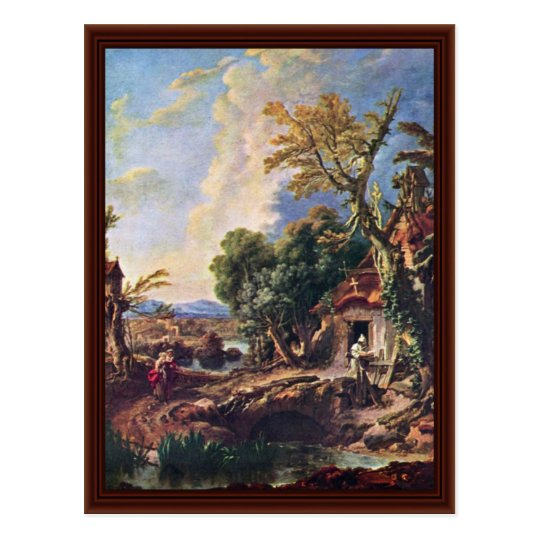 Landscape With Brother Lucas By François Boucher Postcard