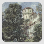 Landscape, with Castle and Trees Square Stickers