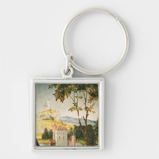 Landscape with castle in a moat and two swans keychains