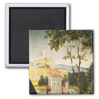 Landscape with castle in a moat and two swans magnet