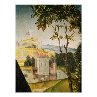 Landscape with castle in a moat and two swans poster