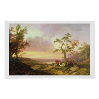 Landscape with Cattle and Peasant, c.1781 (oil on Poster