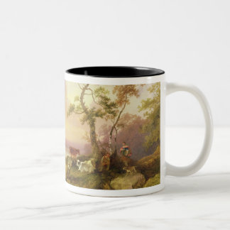 Landscape with Cattle and Peasant, c.1781 (oil on Two-Tone Coffee Mug