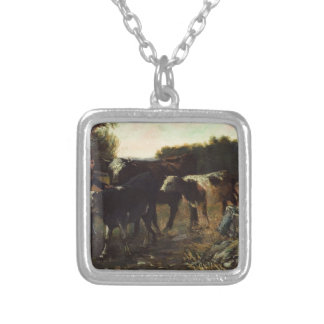 Landscape with Cattle by Robert Julian Onderdonk Square Pendant Necklace