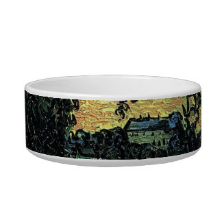 Landscape with Chateau of Auvers, Vincent van Gogh Cat Water Bowl
