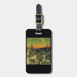 Landscape with Couple Walking and Crescent Moon Luggage Tag