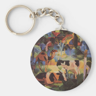 Landscape with Cows and a Camel by August Macke Keychain