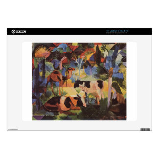 Landscape with Cows and a Camel by August Macke Laptop Skins