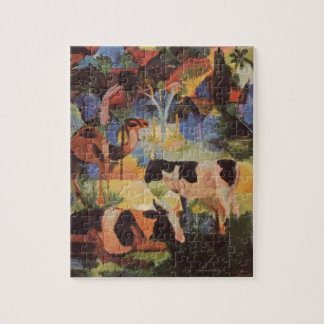 Landscape with Cows and a Camel by August Macke Puzzle