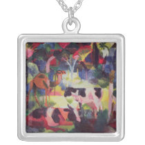 Landscape with Cows and a Camel Silver Plated Necklace