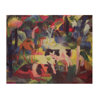 Landscape with Cows and a Camel Wood Wall Art