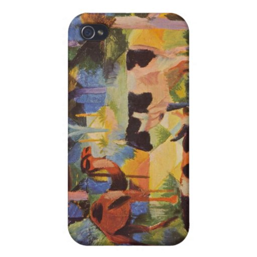 Landscape with cows and camels by August Macke iPhone 4 Covers
